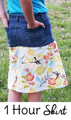 Free sewing patterns for girls. Make this demin skirt DIY in about an hour!