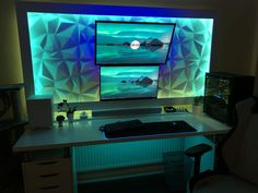 Computer Desk Setup, Computer Gadgets, Gaming Room Setup, Pc Setup, Gaming Rooms, Computer Programming, Office Games, Office Setup, 3d Wall Panels