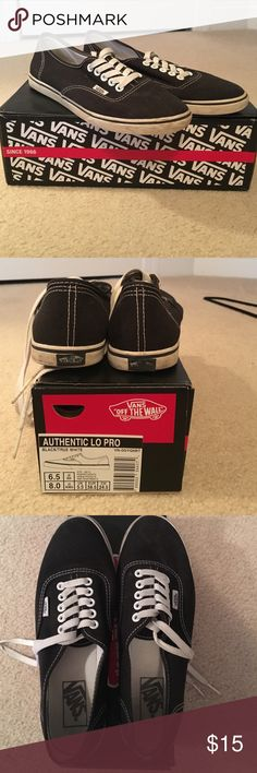 Black Authentic Lo Pro Vans Classic black lo pro vans. Visible wear. Vans rubber logo peeling off of right shoe. Size Women's 8/Men's 6.5. Vans Shoes Sneakers