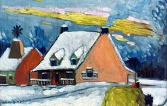 Marc-Aurèle FORTIN - Maisons en hiver (c. 1921) Canadian Painters, Canadian Artists, Canada, Sculpture, Art Studies, Museum, Houses, Paintings, Google Search
