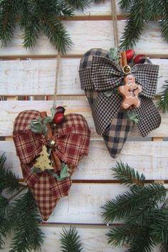 Plaid cloth hearts ribbons and mini ornaments