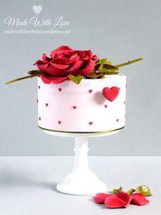 Corazones y Rose de la torta del día de San Valentín