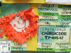 Leprechauns Character Traits!!! Cuteness and content in a St. Patty's day bulletin board!