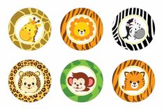 Safari cupcake toppers Safari baby shower por DreamyPartyPrintable