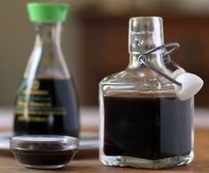 Soy sauce and a homemade substitute that works quite well for people with an allergy to soy protein.