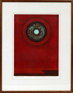 "HIROYUKI TAJIMA - Woodblock print ""Scarlet Ring"""