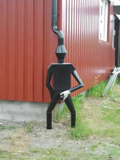 this is so funny. would love it at the corner of the shed. 30 Amazing Downspout Ideas, Splash Guards, Charming Rain Chains and Creative Rain Ropes
