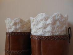 Hand Crocheted Boot Cuffs Leg Warmers Cream.