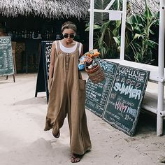 145772b1c9f SuperAen Spring and Summer New 2019 Jumpsuits Women Cotton and Line Pockets  Loose Pluz Size Casual