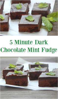 5 Minute Dark Chocolate Mint Fudge. These will melt in your mouth! Simple and with no refined sugar. Real food ingredients.