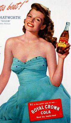 Rita Hayworth endorsing Royal Crown Cola