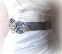 Gray Bridal Sash with Ivory or White Lace by TheRedMagnolia