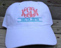 Personalized Monogrammed Baseball Cap Hat. ANY Sorority Greek Letters available. Alpha Chi Omega, Delta Zeta, Alpha Delta Pi