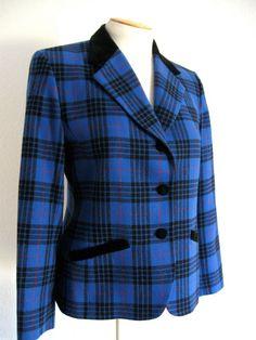 Vintage 70's Pendleton Royal Blue Plaid Wool by ErmaJewelsVintage