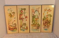 Frog Plaques Set of 4 Vintage Whimsical 1970s Frogs Wall Hangings 4 Panels Wall Decor Kitschy Wall Decor Woodland Decor Nursery Bathroom