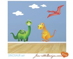 Dinosaur Fabric Wall Decal Set by JanetteDesign on Etsy, $65.00