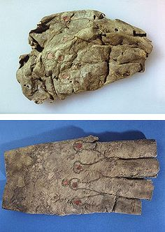 Glove  8th - 9th century, burial site of Moshchevaya Balka, Northern Caucasus  Archeological leather, with applique of dyed leather  Before and after restoration   Hermitage Museum