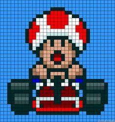 Mario Kart Mushroom perler bead pattern