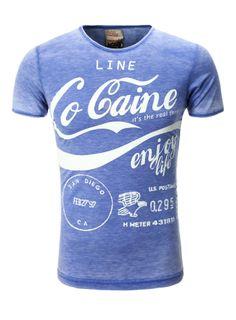 T-Shirt Print Herren Young  Rich mit kurzen Ärmeln blau