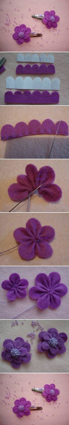 diy cute felt flowers purple clip tutorial with beads - headwear, felt flowers crafts
