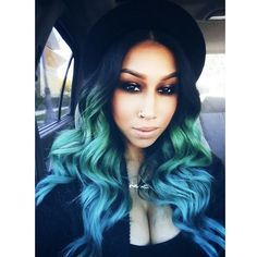Green Blue Teal Black Curly Ombre Mermaid Hair Style Flawless Makeup Nikkiroxstar_mua