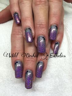 Glitter fade. Silver and purple. Gel nails. Nail art. Swarovski crystals.