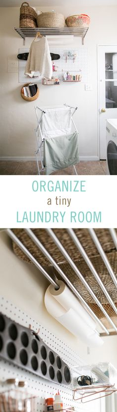 Figuring out how to deal with a tiny laundry room without letting it get out of control can be a challenge. But with some pegboard, hooks, wire baskets, adjustable towel racks, and some IKEA hacks, your laundry room can become an organizational dream in one day. #IKEAhacks