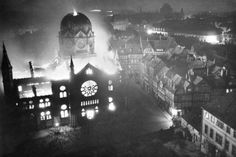 11.9–10.1938 - Kristallnacht/The Night of Broken Glass: A synagogue aflame. Led by Nazi stormtroopers and carried out by German civilians, at least 91 Jews were murdered, 30,000 Jews were rounded up and sent to concentration camps. 1,000 ancient synagogues were burned to the ground and 7,000 Jewish businesses were destroyed. It marked the beginning of The Shoah. Hitler was inspired by Christian theologian Martin Luther's views on Jews.