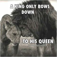 A king only bows down to his queen