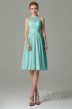 a31ce27da40 Sweet Illusion Natural Knee Length Lace Chiffon Sleeveless Zipper  Bridesmaid Dress with Sashes COZK16003 -