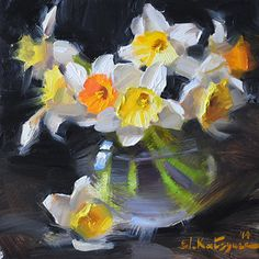 Daffodils on Black by Elena Katsyura Oil ~ 6 x 6