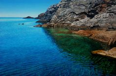 Radiant Shore-Mark Cross - New Zealand Born contemporary realist artist Seascape Art, Mark Cross, Sea And Ocean, Contemporary Landscape, New Art, Landscape Paintings, New Zealand, Illustration, Artwork