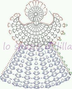 Collezione di angeli all'uncinetto con schemi / Crochet angels collection, free charts Crochet Motif, Mendoza, Dolls, Crochet Shoes, Bedspreads, Knits, Butterflies, Christmas, Patterns