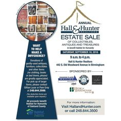 Mark your calendars and don't miss our Annual Hall & Hunter Realtors Estate Sale benefiting Habitat for Humanity of Oakland County on Saturday September 10th 2016 from 9AM to 4PM here at our office located at 442 S. Old Woodward Ave. in Birmingham! #hallandhunter #careforyourcommunity