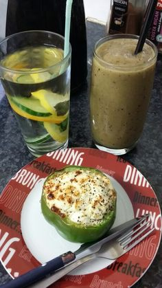 Weight maintenance breakfast: today I had a grilled pepper stuffed with shredded broccoli, cherry tomatoes, and 1 serving of low fat cheese.  I also took a glass of the green smoothie I posted yesterday (2 cups water blend with 1/2 cup frozen pineapple, 1 frozen banana, 1/2 cup optional of berries, 2 cups spinach, few slices of avocado). It didn't come out green like yesterday! Maybe due to the added berries.