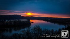 Sunrise over the Kanawha River in Mason County, West Virginia