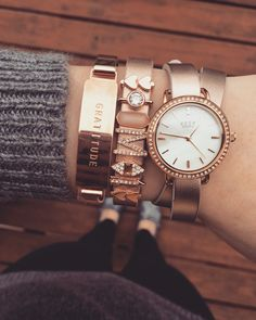Keep collective rose gold leather band, pave watch, and bangle!❤️  www.keep-collective.com/with/mariahleader