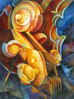 Fractured Cello Painting - Fractured Cello Fine Art Print
