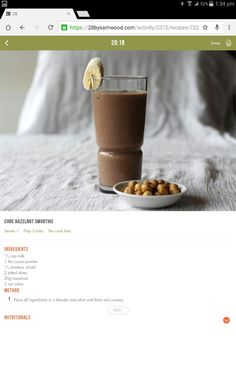 Smoothie Drinks, Healthy Smoothies, Healthy Eats, Real Food Recipes, Diet Recipes, Cooking Recipes, Healthy Recipes, 28 By Sam Wood, Interesting Recipes