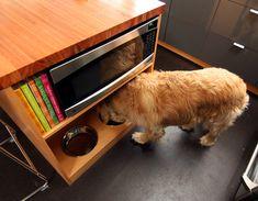 Ejemplo de mueble con recipiente para mascotas integrado