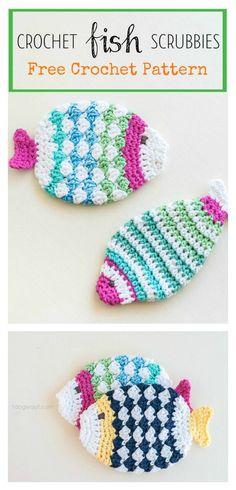 Fish Scrubbie Washcloths Free Crochet Pattern #freecrochetpatterns