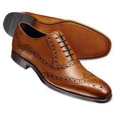 Tan Kirkby brogue shoes | Men's business shoes from Charles Tyrwhitt | CTShirts.com
