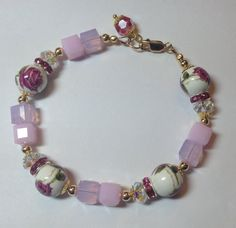 Rose Crystal Beaded bracelet  red pink rose gold by besboutique