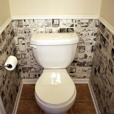 Newspaper or sheet music or cartoons for wallpaper, great idea for the guest toilet
