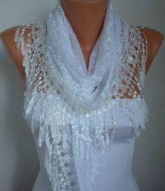 Lace Scarf   scarf shawl  Sale scarf  Free scarf  White  by anils, $19.90