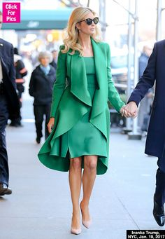 ivanka green outfit | PIC] Ivanka Trump's Green Dress & Ruffled Coat: Moves Out Of NYC In ...