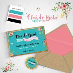Convite Chá de Bebê Azul e Rosa | Mi Arte | Elo7