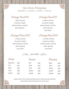 Price Sheet Photography Template - Photography Price List - Marketing - Photoshop Template Photograp