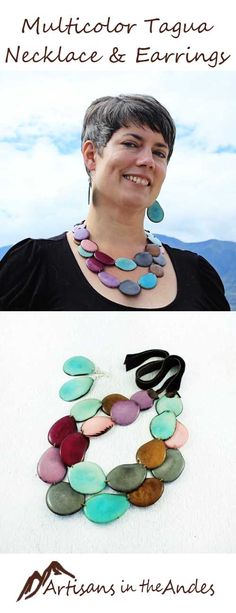 Escape the ordinary with this colorful necklace, artistically inspired to brighten up your day. As well as beautifully crafted, this necklace and earring set is fair trade so that you can wear it with pride. Feel confident in knowing the artisan who handmade your necklace was fairly paid. #fairtrade #fairtradefashion #fairtradejewelry #fairtradegifts