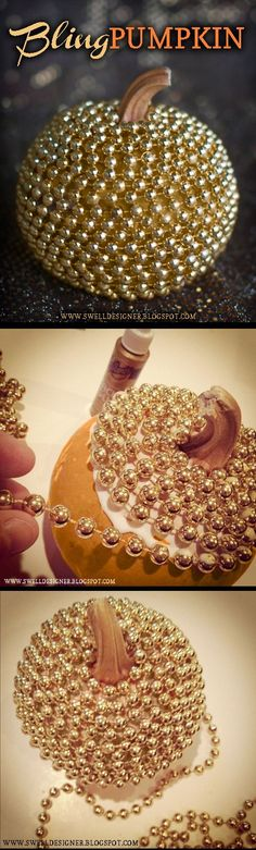 How to make this bling pumpkin diy project for Halloween. Bling Pumpkin DIY: tacky glue, gold paint, and mardi gras beads (or small Christmas bead garland) ~ Halloween decor tutorial Fete Halloween, Holidays Halloween, Halloween Pumpkins, Halloween Crafts, Halloween Halloween, Glitter Pumpkins, Fake Pumpkins, Halloween Weddings, Plastic Pumpkins
